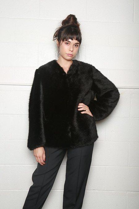 Sara Lanzi Faux Fur Jacket - Black