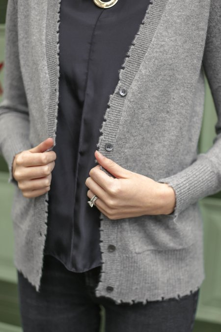 Minnie Rose Frayed Edge Cardigan - Silver Grey