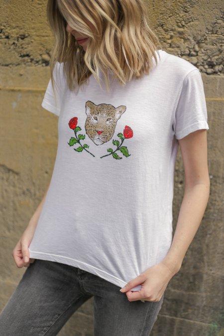 LNA Leopard Crest Tee - White