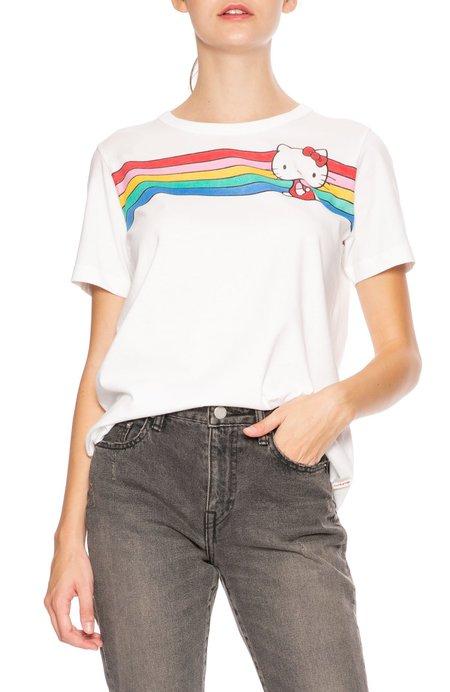 Chinti and Parker Hello Kitty Rainbow Stripe Cotton Tee - White