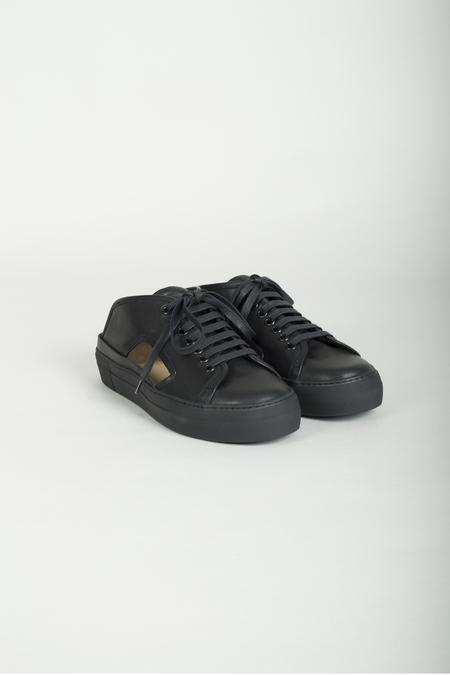 Barny Nakhle Cutout Calf Leather Sneaker - Black