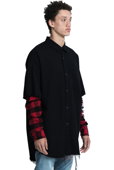 Mastermind World Double Layered Shirt - Black/Red