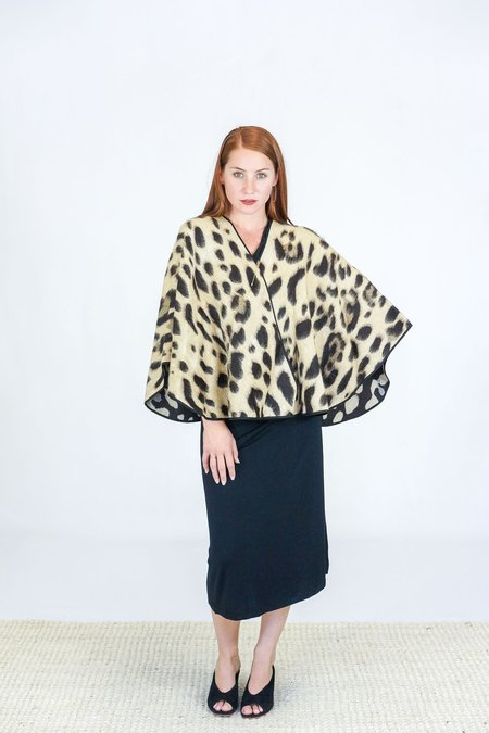Giada Forte Savanna Jacquard Fur Stole Coat - Natural