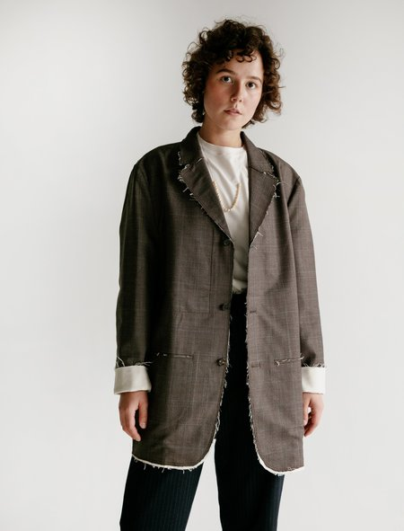 Camiel Fortgens Long Suit Wool Jacket - Check