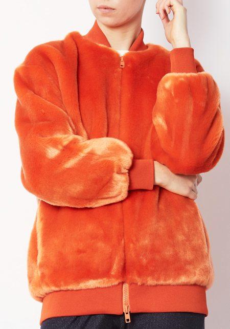 Tibi Luxe Faux Fur Zip-up Jacket - Orange