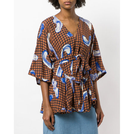 Henrik Vibskov Grace Blouse - Pling Plong Blue/Brown