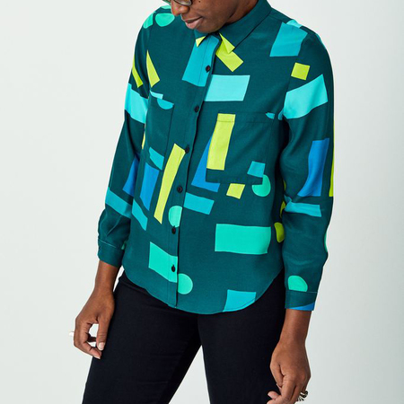 Dusen Dusen Silk Work Shirt - Green Mobile Print
