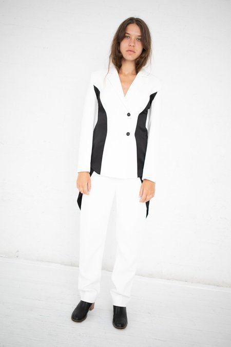 Yulia Kondranina Contrast Side Panel Trouser - Off White/Black