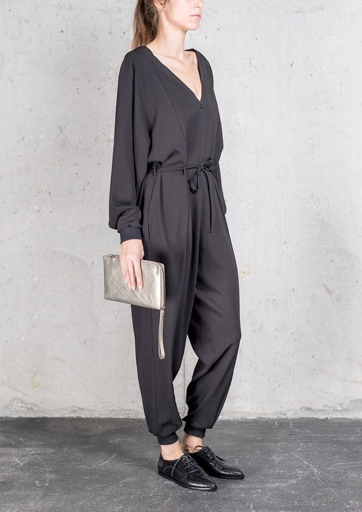 b3152c9975e4 Berenik OVERSIZED HEAVY DRAPING LONG JUMPSUIT - black