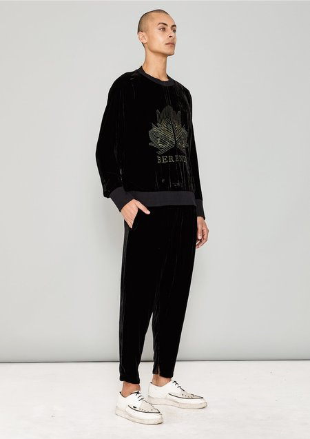 UNISEX Berenik SILK VELVET LOOSE ELASTIC PANTS - black