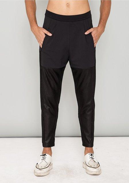 Berenik Triacetate Tech Knit Patchwork Pants - Black