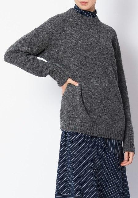 Tibi Alpaca Cozy Pullover -  Charcoal Gray