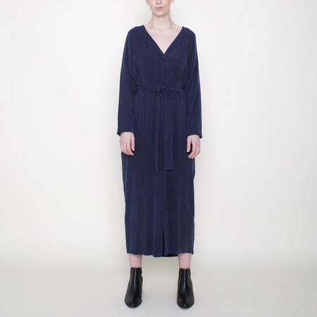 7115 by Szeki Dress With Rope Tie - Navy Blue
