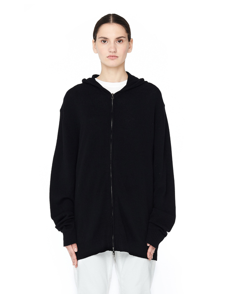 Blackyoto Cashmere Hoodie with Silk Embroidery - BLACK