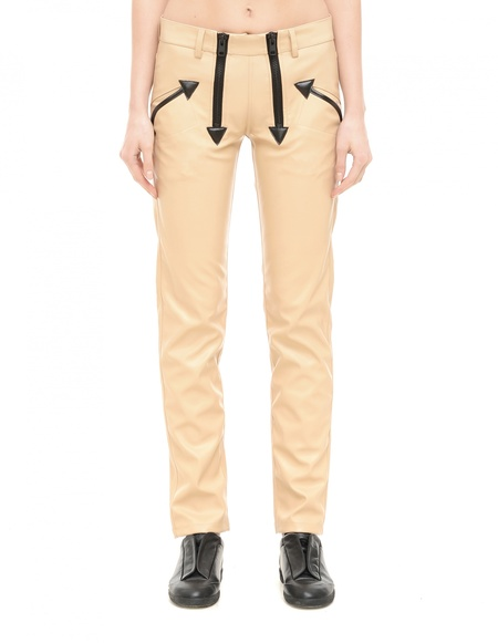 KTZ Faux Leather Trousers - Beige