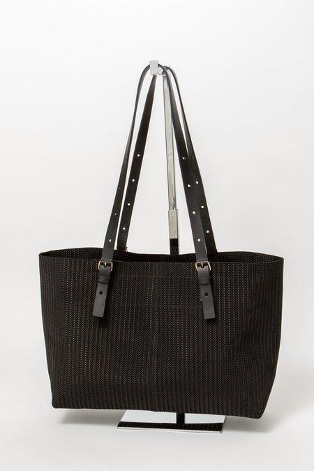Linde Gallery Camaruche Medium Embossed Suede Knit Bag - BLACK