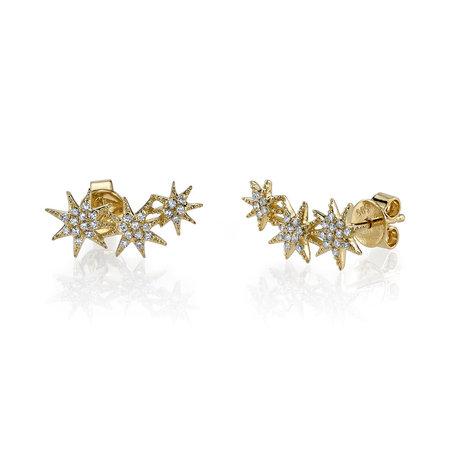 Gabriela Artigas Pave Triple Shooting Star Earrings - Yellow Gold
