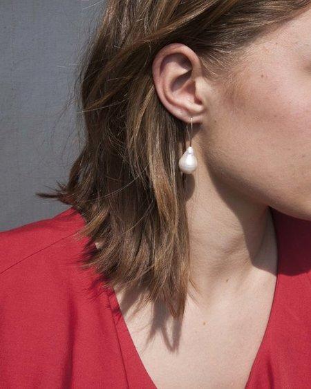 Mary MacGill Drop Earrings - WHITE Baroque PEARL