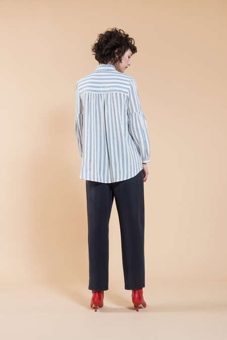 Jennifer Glasgow Aretha Blouse - black/white stripe