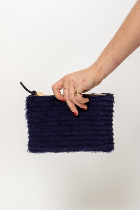 Clare V. Shearling Wallet Clutch - MIDNIGHT