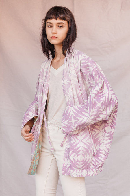 Kate Towers two way kimono coat - Lavender/Mint