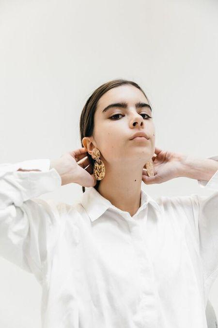 Mars Lunar Double Drop Earrings - Gold Foil
