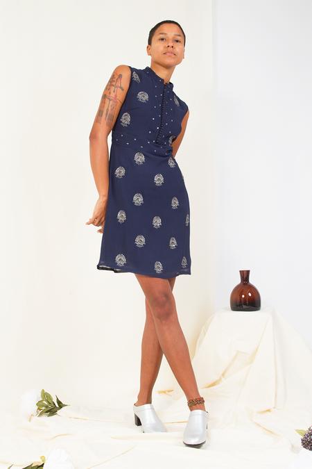 Bhoomki Paisley Mughal Dress - Navy