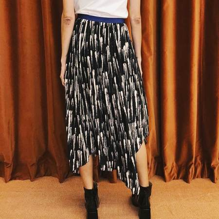 Colovos Feather Print Pleated Skirt