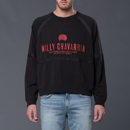 Willy Chavarria Battery Buffalo Long Sleeve Sweatshirt - Pirate Black