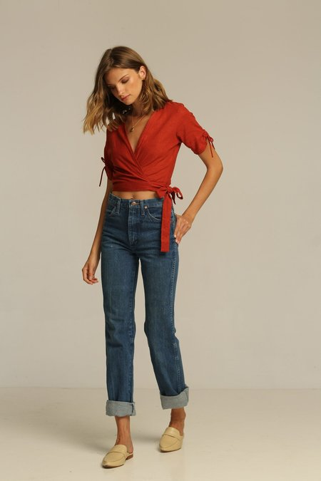 Rue Stiic Imperial Wrap Top - Canyon Red/Blue Bell