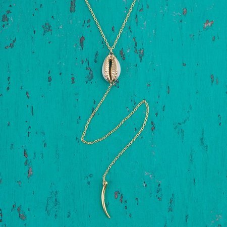 Cowrie Shell Jewelery Cowrie Lariat Necklace