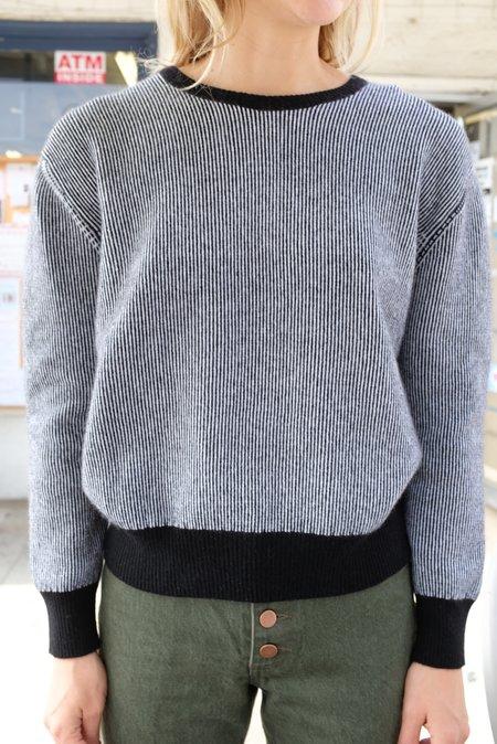 Beklina Cashmere Ribbed Crew Sweater - Black/White
