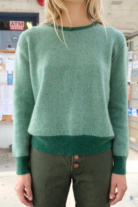 Beklina Cashmere Ribbed Crew Sweater - Fauna/Mint