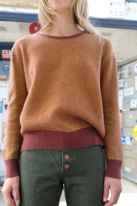 Beklina Cashmere Ribbed Crew Sweater - Vino/Dandelion
