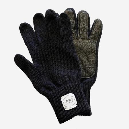 Upstate Stock Ragg Wool Glove - Navy Melange/Black Deerskin
