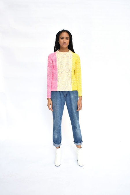 Soft Haus Current Pullover - Pink/Yellow