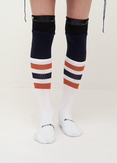 Doublet Layered Border Socks - White