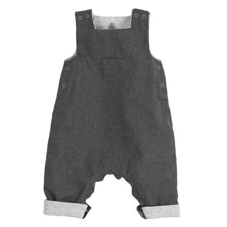 KIDS Petit Bateau Baby Overall With Pocket - Grey