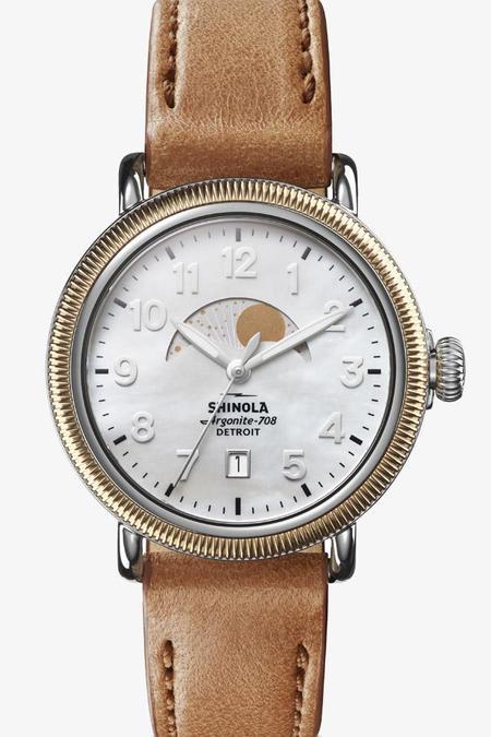 Shinola Runwell 38mm Mother of Pearl Watch - Bourbon