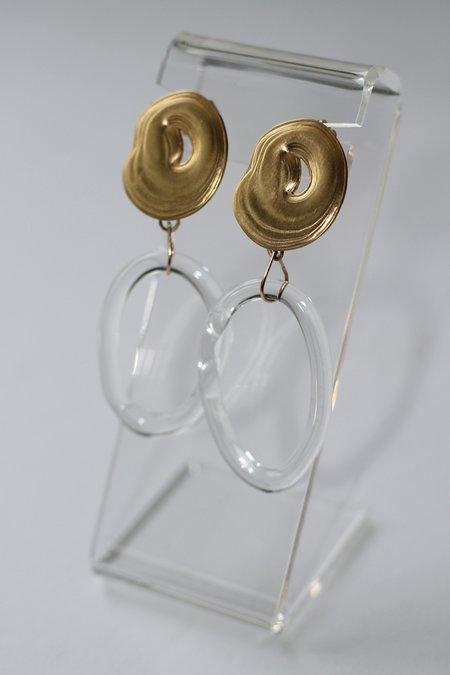 Leigh Miller Glass and Brass Teardrop Hoops