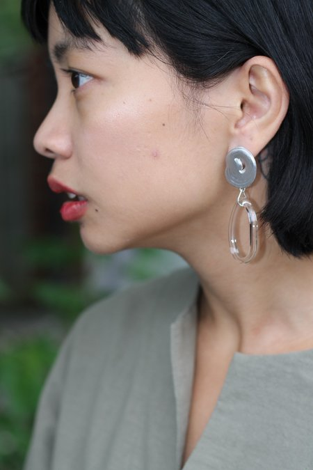 Leigh Miller Glass and Sterling Silver Teardrop Hoops - Clear/Silver