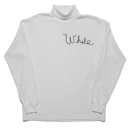 Unisex Skim Milk Whole Thermal Turtleneck Top - White