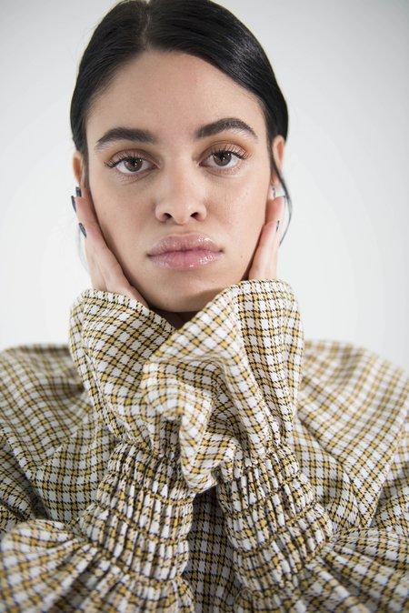 OhSevenDays Monday Bell Sleeve Blouse - Tartan