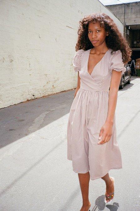 Lisa Says Gah Topanga Midi Dress - Brown/White Gingham