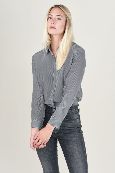 Baldwin Nora Silk Stripe Button Up - Navy/White Stripe