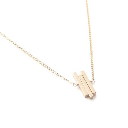 Favor Triple Bar Stitches Necklace - Gold