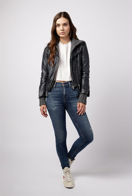 Doma Leather Biker Detachable Hooded Jacket