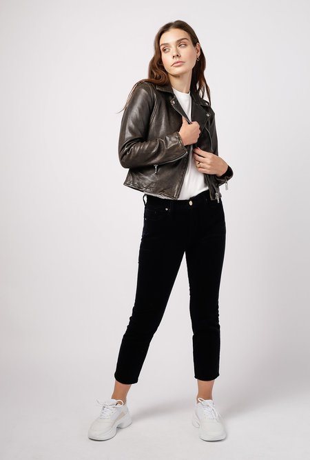Doma Leather Biker Jacket - Black