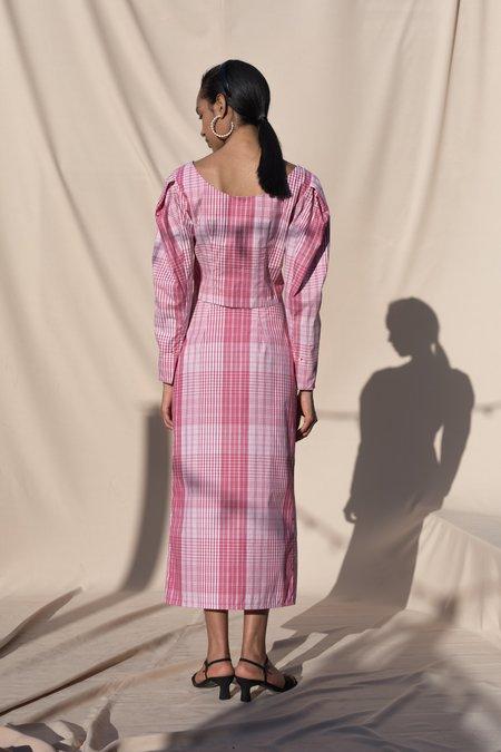 Pari Desai Lani Wrap Poplin Skirt - Radish Plaid