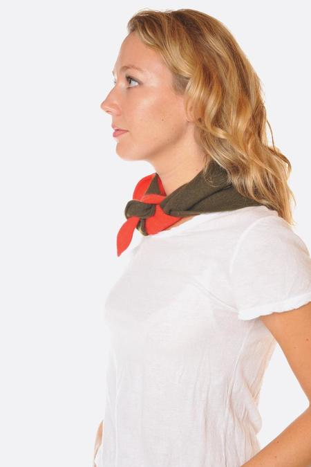 Jo Gordon Half Half Triangle Scarf - Scarlet/Military